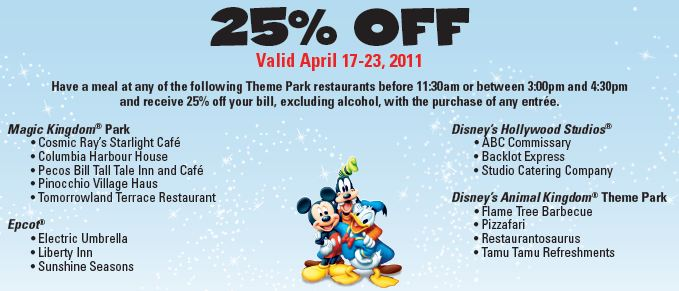 "image about Disney World Printable Coupons titled Disney Environment Eating: 25% Off Coupon! Mothers Will need Towards Comprehend â""¢"