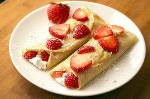 Sour Cream Strawberry Crepes