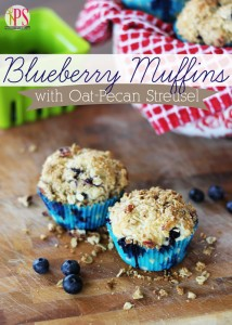 Blueberry Muffins with Oat Pecan Strudel