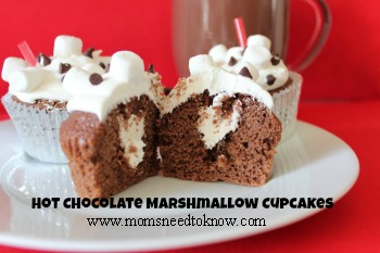 Hot Chocolate Marshmallow Filled Cupcakes