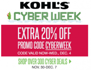 Kohl's Cyber Week Deals | 20% off Everything + Free Shipping (No Minimum) + $15/$50 Kohl's Cash!