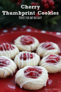 Next to my eggnog cookies, I think my cherry thumbprint cookies are my favorite to make at the holidays!