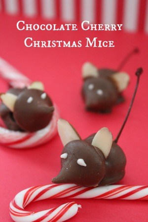 chocolate cherry christmas mice