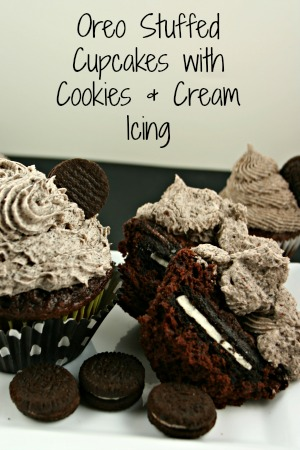 Oreo Stuffed Cupcakes with Cookies and Cream Frosting | Easy Dessert Recipe