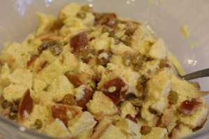 egg nog bread pudding mixed