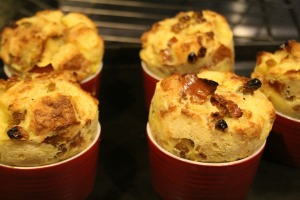 egg nog bread pudding puffed