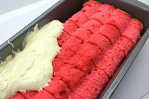 hidden hearts pound cake assembly