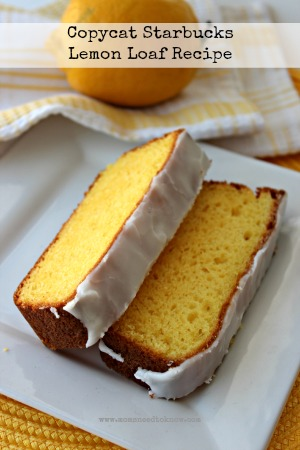 Need something to munch on with your Frapp?  Try this copycat version of the Starbucks Lemon Loaf!