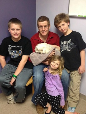 Brad and our children visiting Coupon in the hospital
