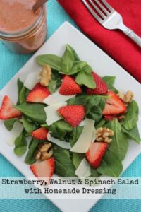Strawberry Spinach Salad with Walnuts and Homemade Dressing