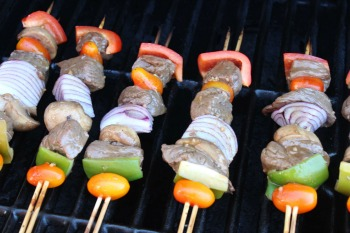 shish kabobs cooking