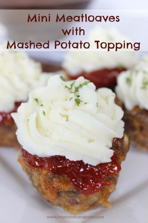 Easy Meatloaf Recipe - Mini Meatloaves with Mashed Potato Topping