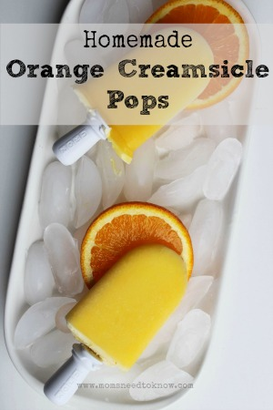 Homemade Orange Creamsicle Pops