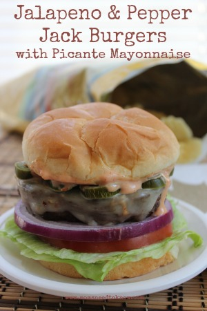 Jalapeno Pepper Jack Burgers with Picante Mayo