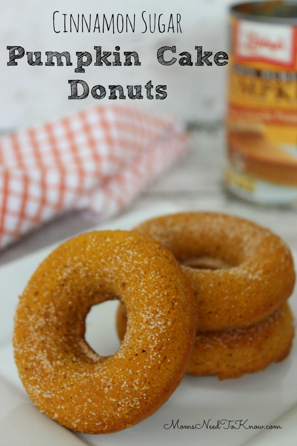 Pumpkin Cake Donuts with Cinnamon and Sugar | Moms Need To Know ™