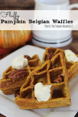 Pumpkin Belgian Waffles Recipe | Moms Need To Know ™