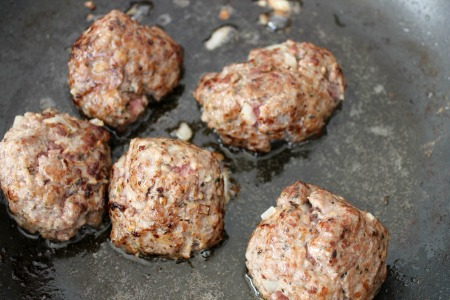 Crockpot Italian Meatballs - Frying