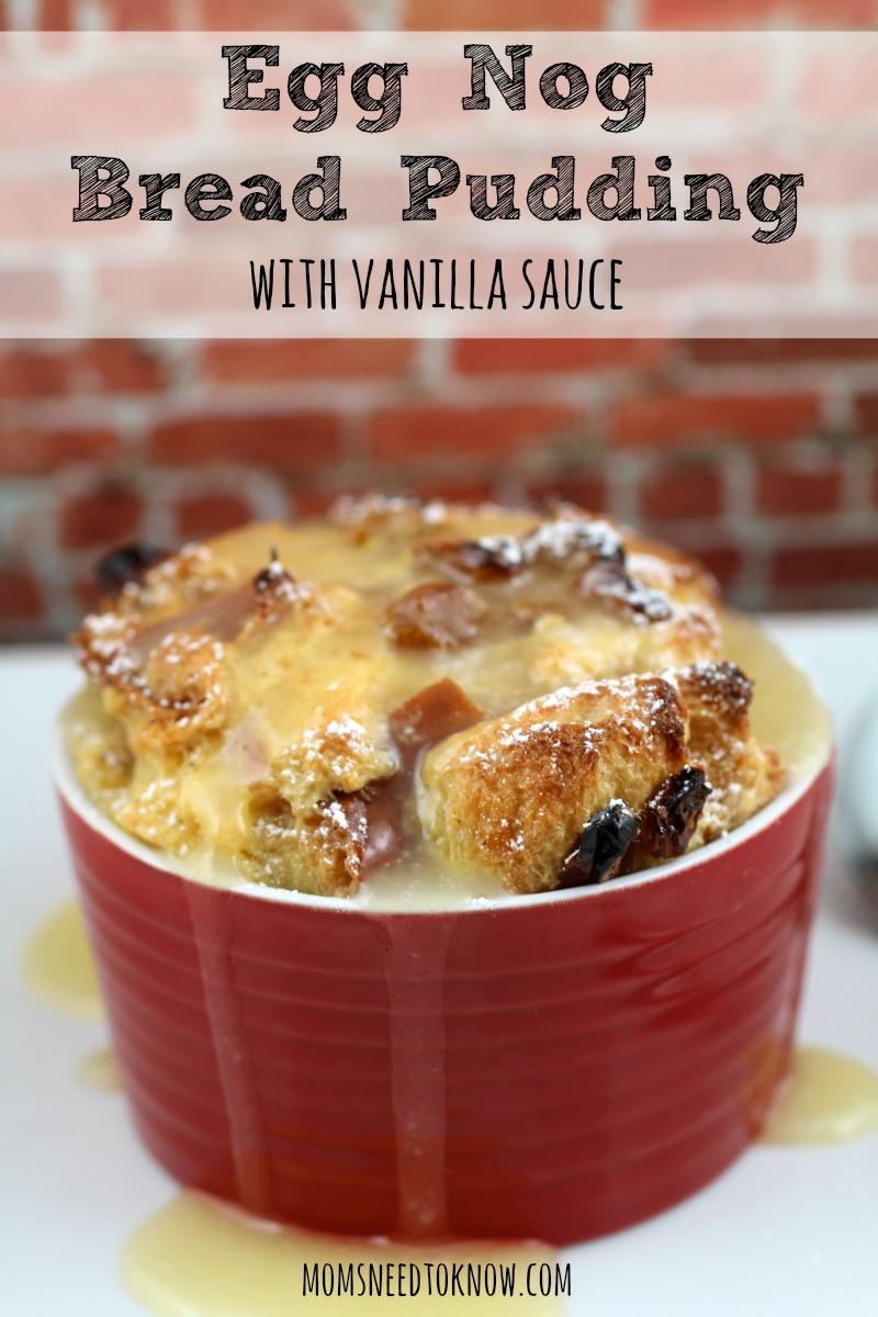 Egg Nog Bread Pudding with Vanilla Sauce recipe