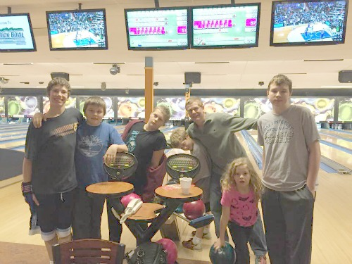 We like to take our kids and a few of their friends our every so often for pizza & bowling!