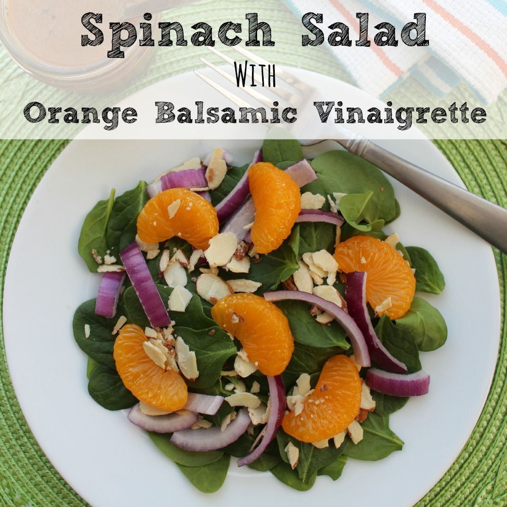 Spinach Salad with Orange Balsamic Vinaigrette Dressing sq