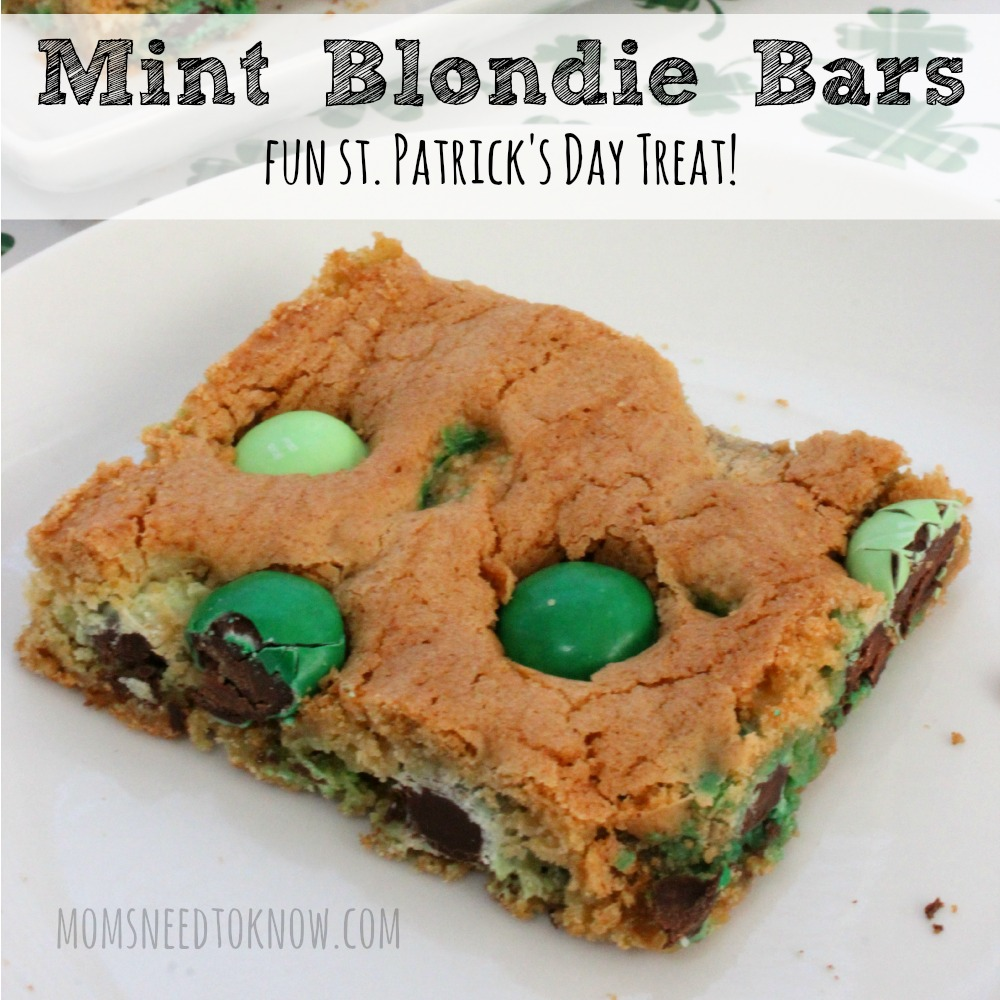Mint Blondie Bars For St. Patrick's Day sq