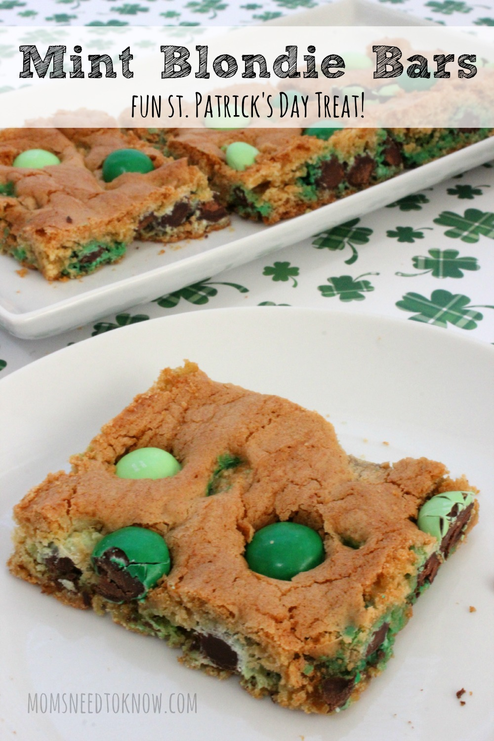 Mint Blondie Bars For St. Patrick's Day