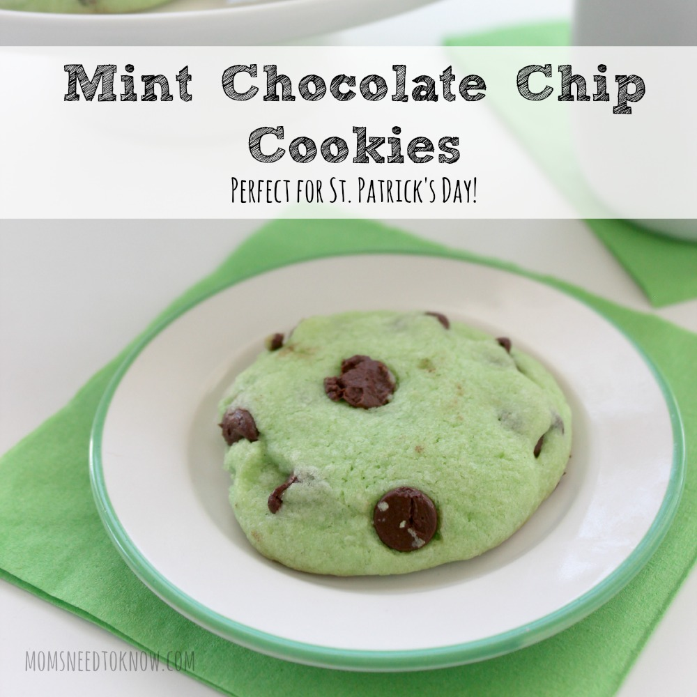 Mint Chocolate Chip Cookies for St Patricks Day sq