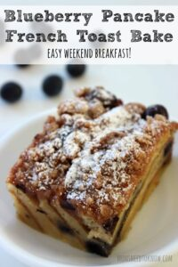 For a slightly sweeter breakfast bake, try this blueberry pancake French Toast bake!