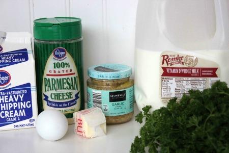 Copycat Olive Garden Shrimp and Broccoli Alfredo ingredients