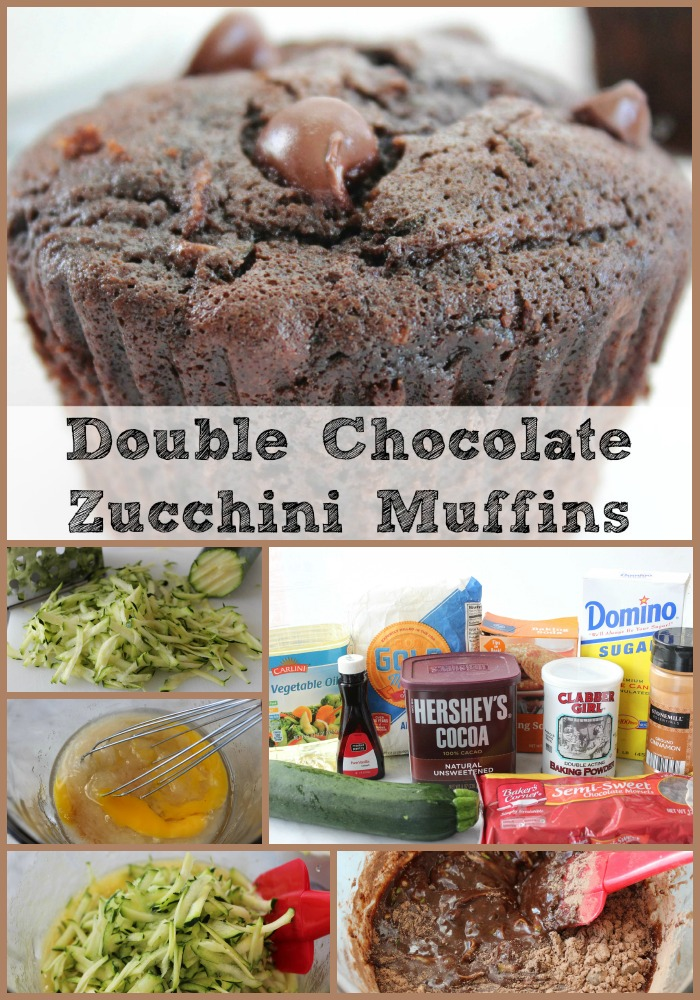 Double Chocolate Zucchini Muffins collage