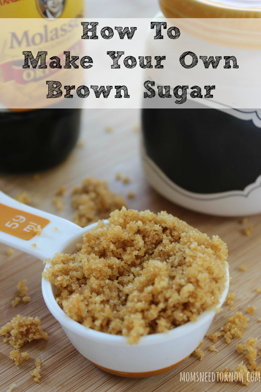 Making your own brown sugar is really quick and easy, will save space in your cabinets. Instead of keeping white sugar, light brown sugar AND dark brown sugar in your cabinets , you simply need some white sugar and some molasses!