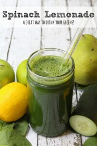 Another great way to get lots of nutrients in to your body quickly?  This spinach lemonade!