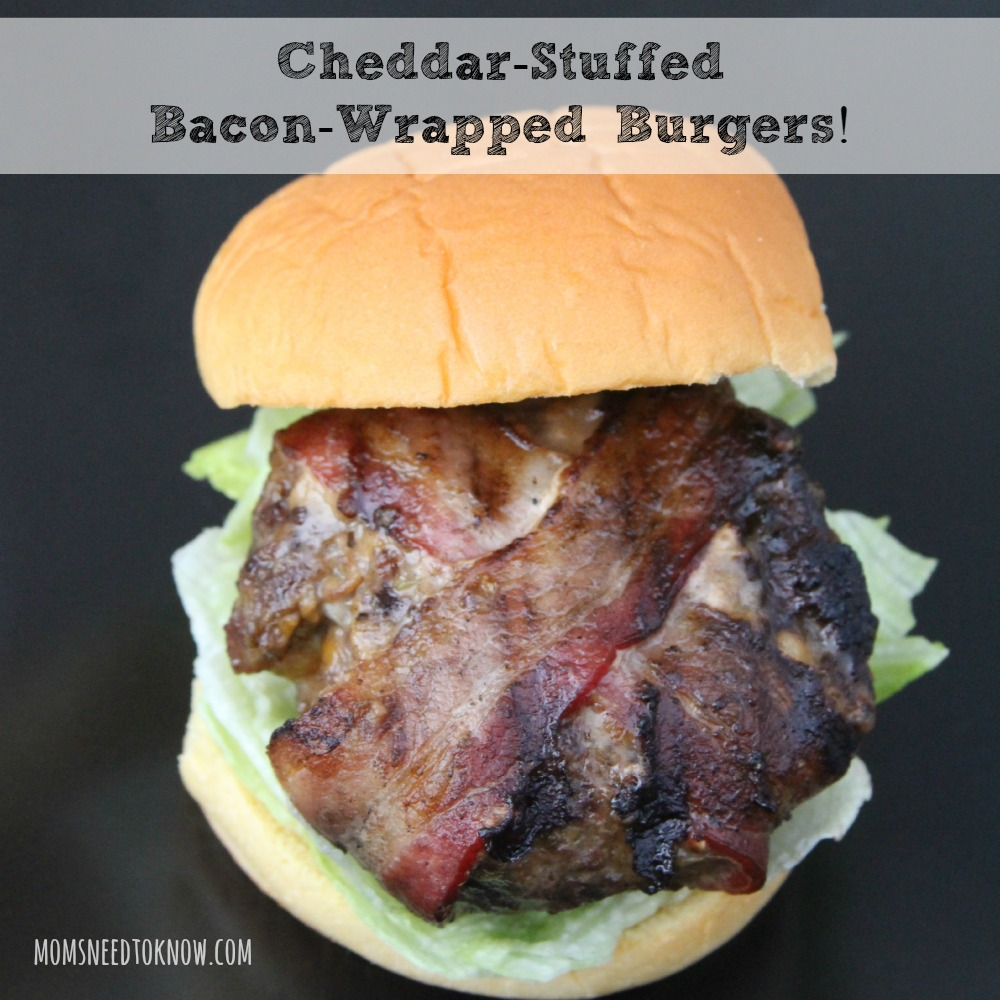 Bacon Wrapped Cheddar Stuffed Burgers sq