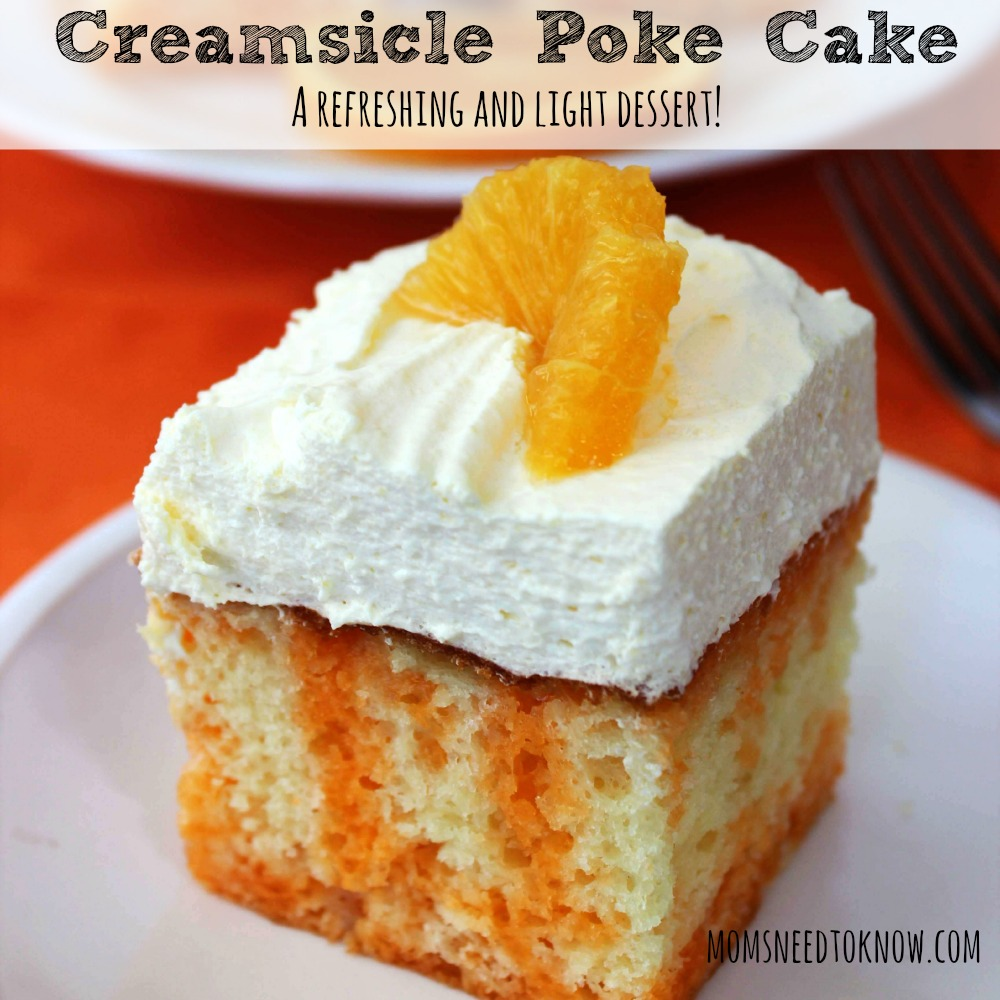 Creamsicle Poke Cake Recipe sq