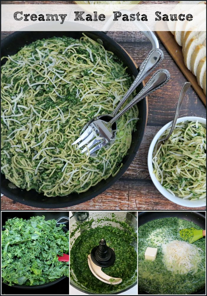 Creamy Kale Pasta Sauce collage