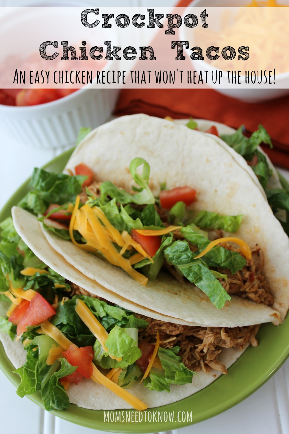 Another ridiculously easy recipe that your children will love?  These crockpot chicken tacos!