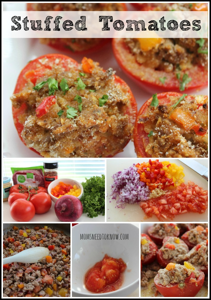 Stuffed Tomatoes using turkey, chicken or pork collage