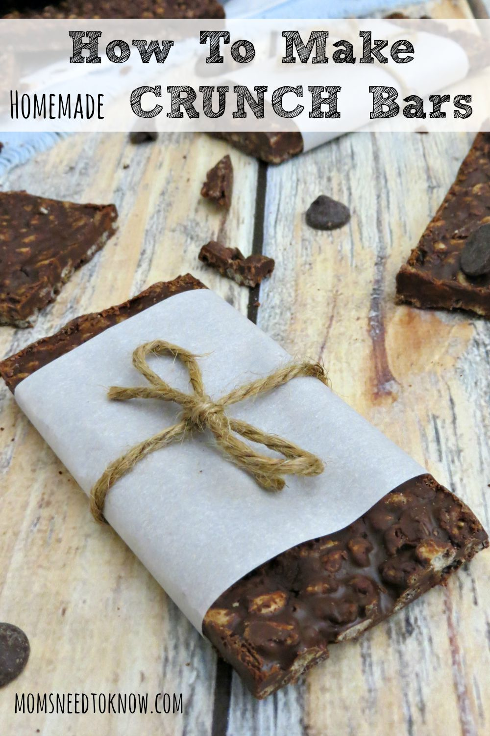 These homemade Crunch bars are very easy to make and really delicious! Make a big batch and store them in your freezer (or add them to your cookie trays!)