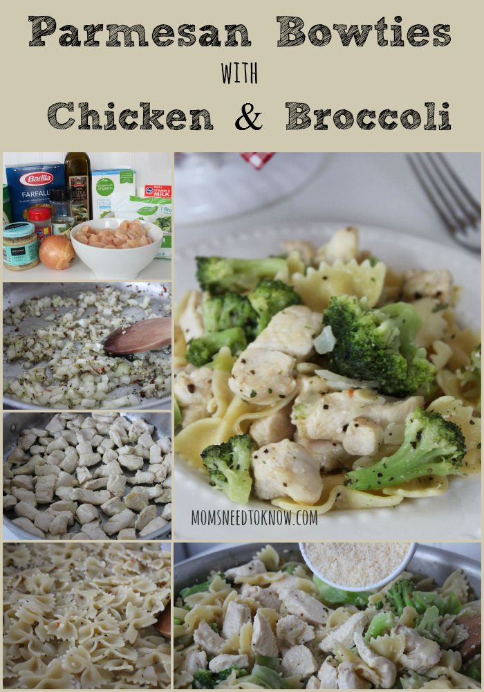Parmesan Bowties with Chicken and Broccoli collage