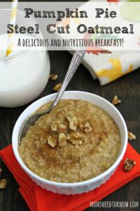 Pumpkin Pie Steel Cut Oatmeal