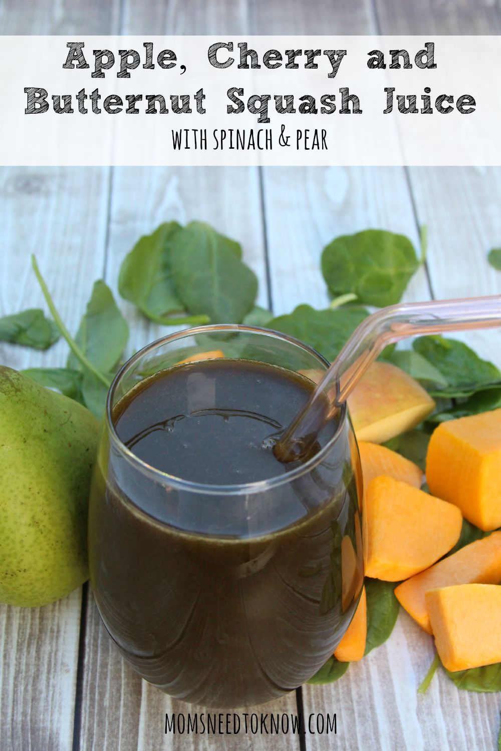 Apple Cherry and Butternut Squash Juice with Spinach and Pear