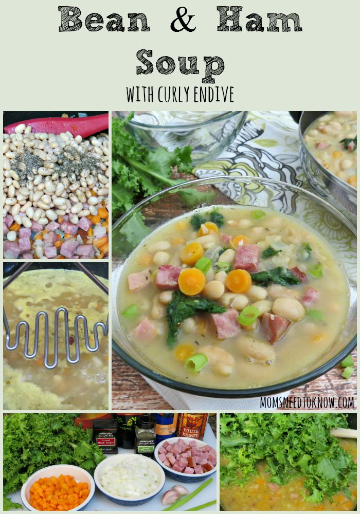 Bean and Ham Soup with Curly Endive collage
