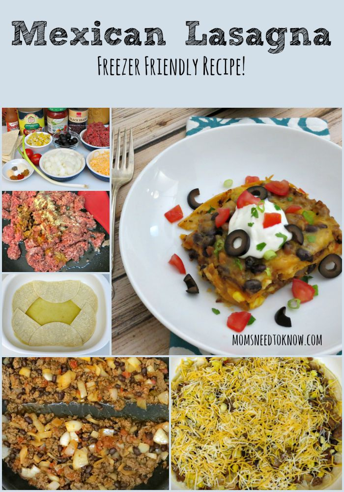Mexican Lasagna Freezer Cooking Recipe collage