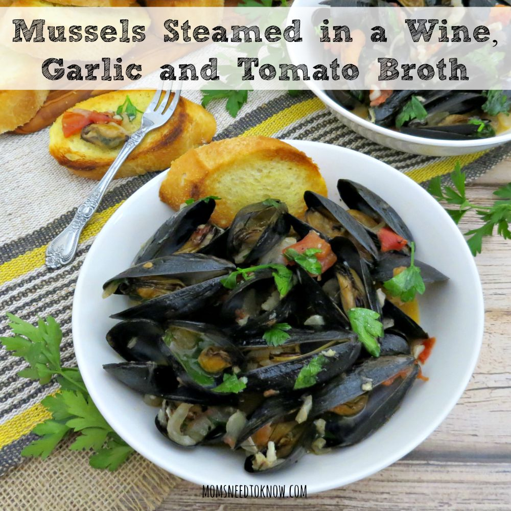 Mussels Steamed In a Wine, Garlic and Tomato Broth sq