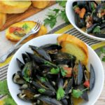 I love cooking with wine as well as these mussels are steamed in a wine and garlic broth and are absolutely delicious!