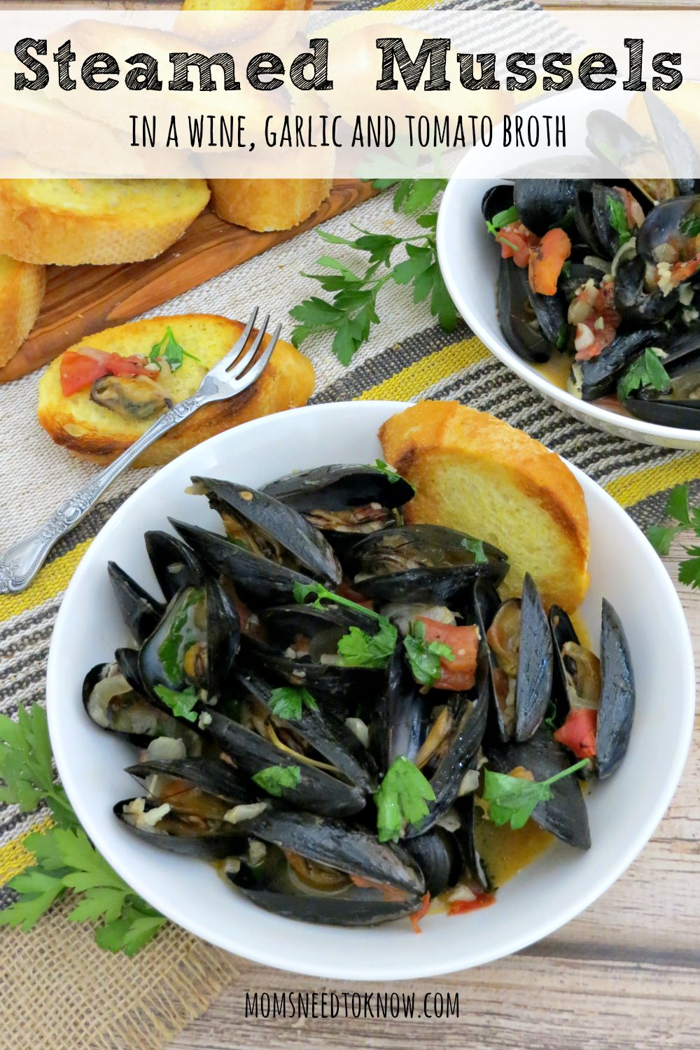 These steamed mussels are made in a delicious broth made with wine, garlic and tomatoes. Perfect as an appetizer and cook up some pasta for a complete meal!