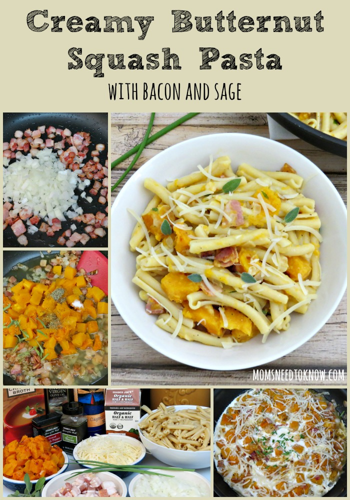 Creamy Butternut Squash Pasta with Bacon and Sage collage