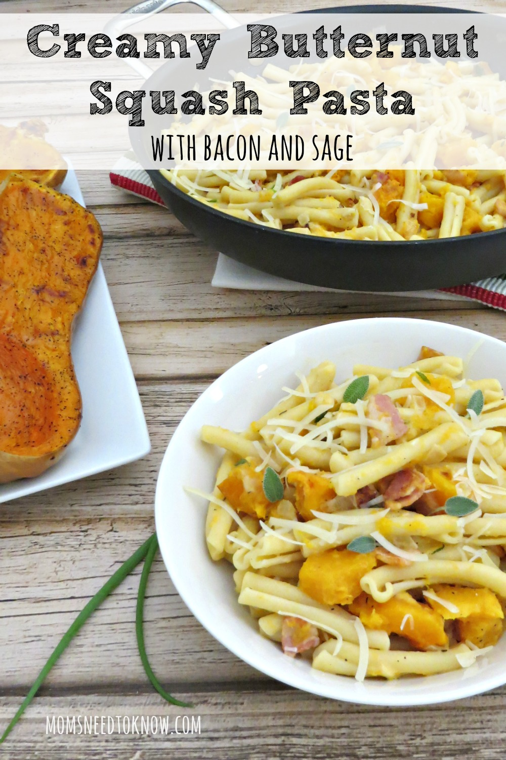 Taste the flavors of Fall with this creamy pasta dish with butternut squash, sage and bacon. Serve it with some crusty bread and a salad for a complete meal