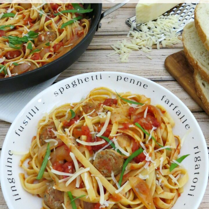 This fettuccine and sausage recipe is full of flavor, yet so simple to prepare and made from ingredients that you probably have in your pantry!