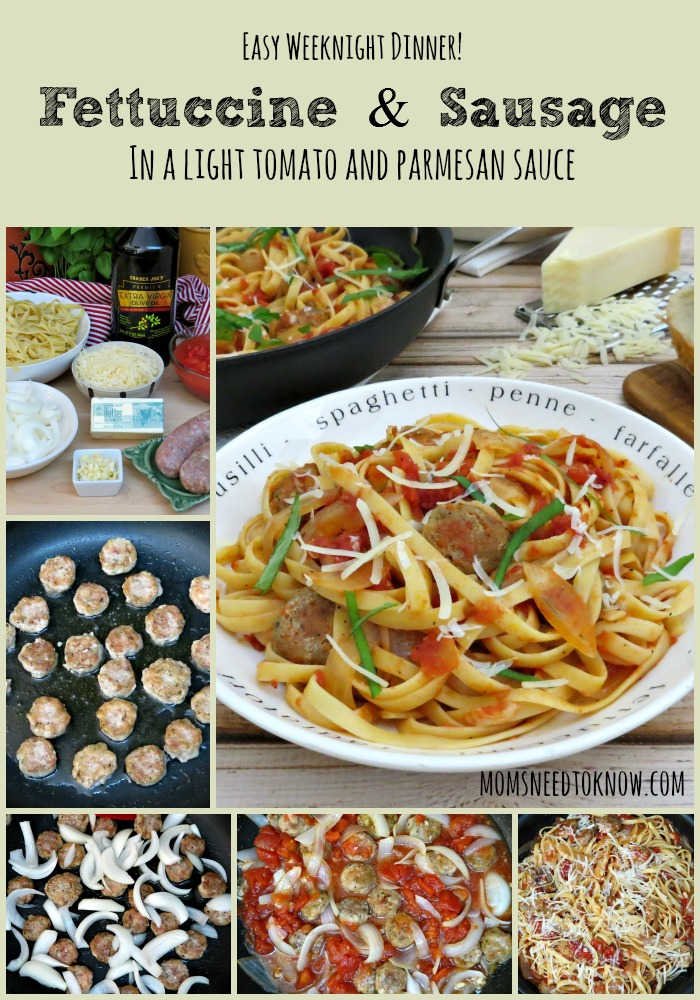 Fettuccine with Chicken Italian Sausage collage